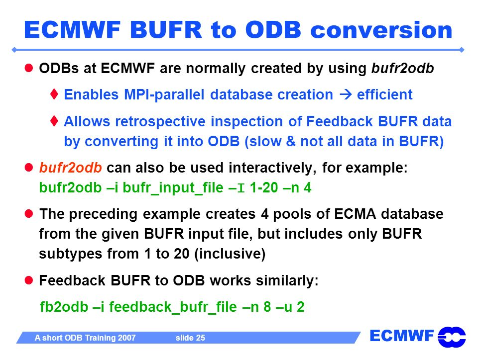 ECMWF BUFR to ODB conversion