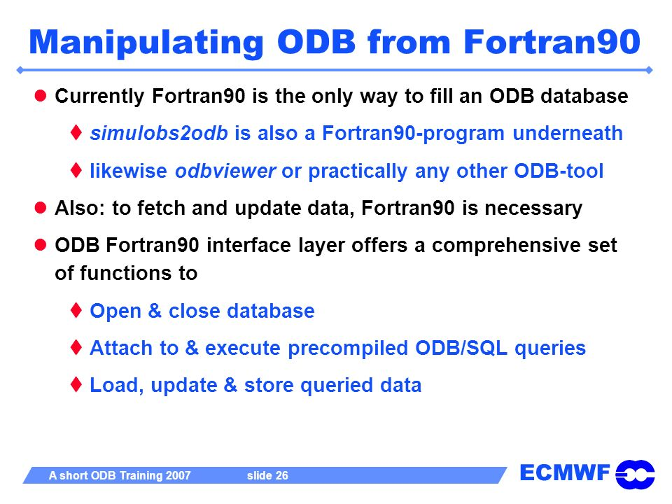 Manipulating ODB from Fortran90