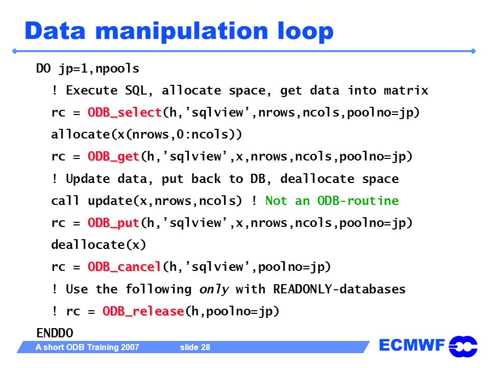 Data manipulation loop