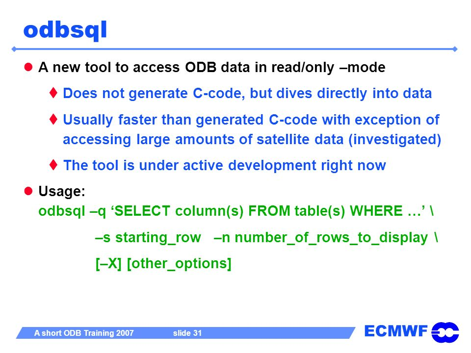 odbsql A new tool to access ODB data in read/only –mode