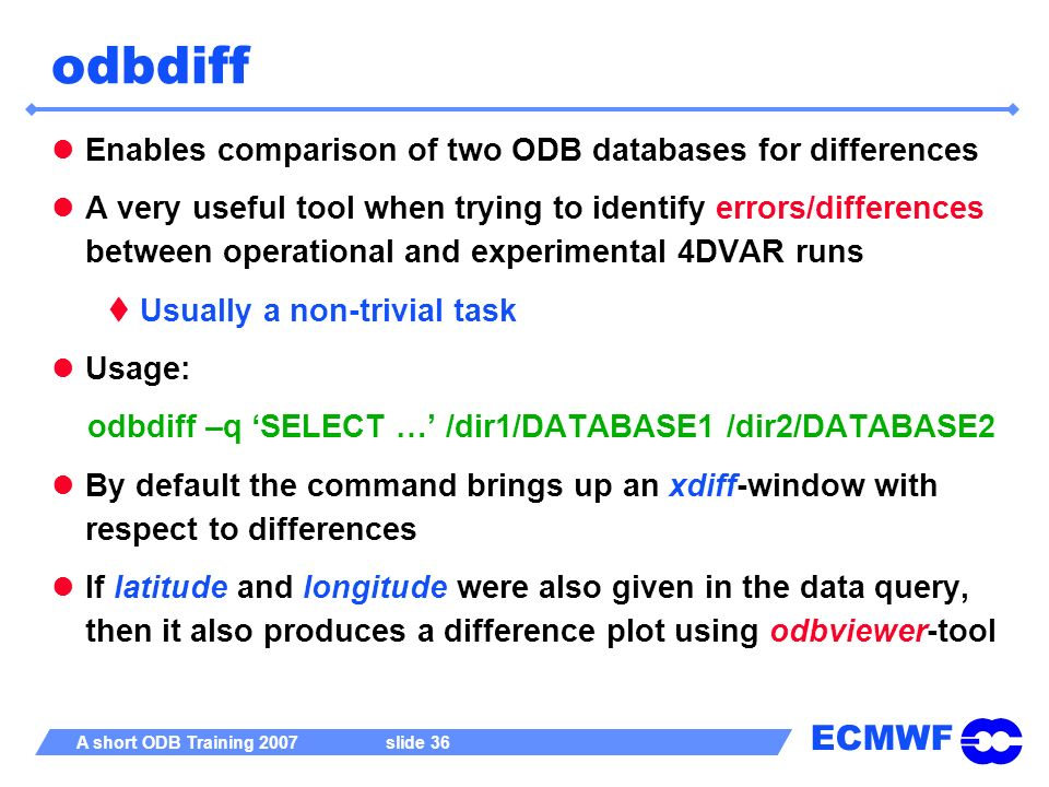odbdiff Enables comparison of two ODB databases for differences