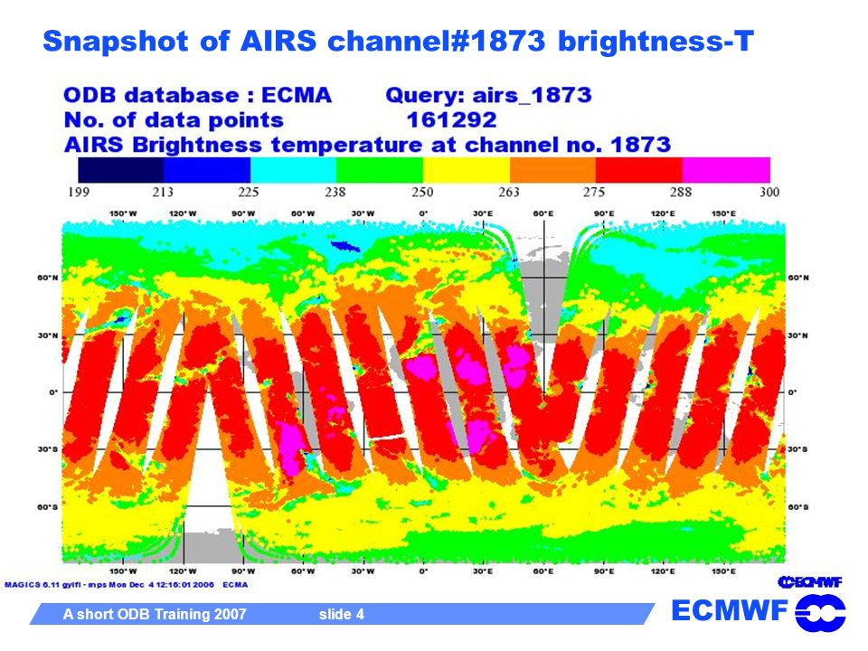 Snapshot of AIRS channel#1873 brightness-T