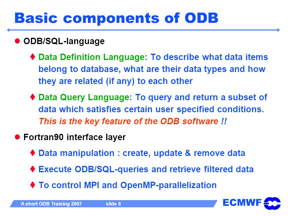 Basic components of ODB