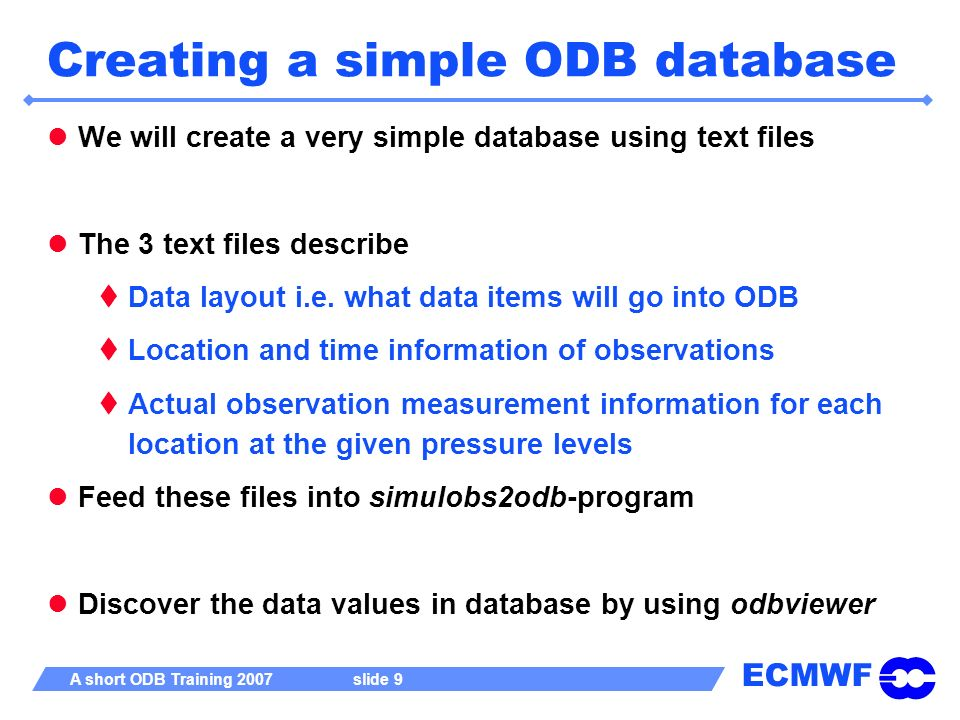 Creating a simple ODB database