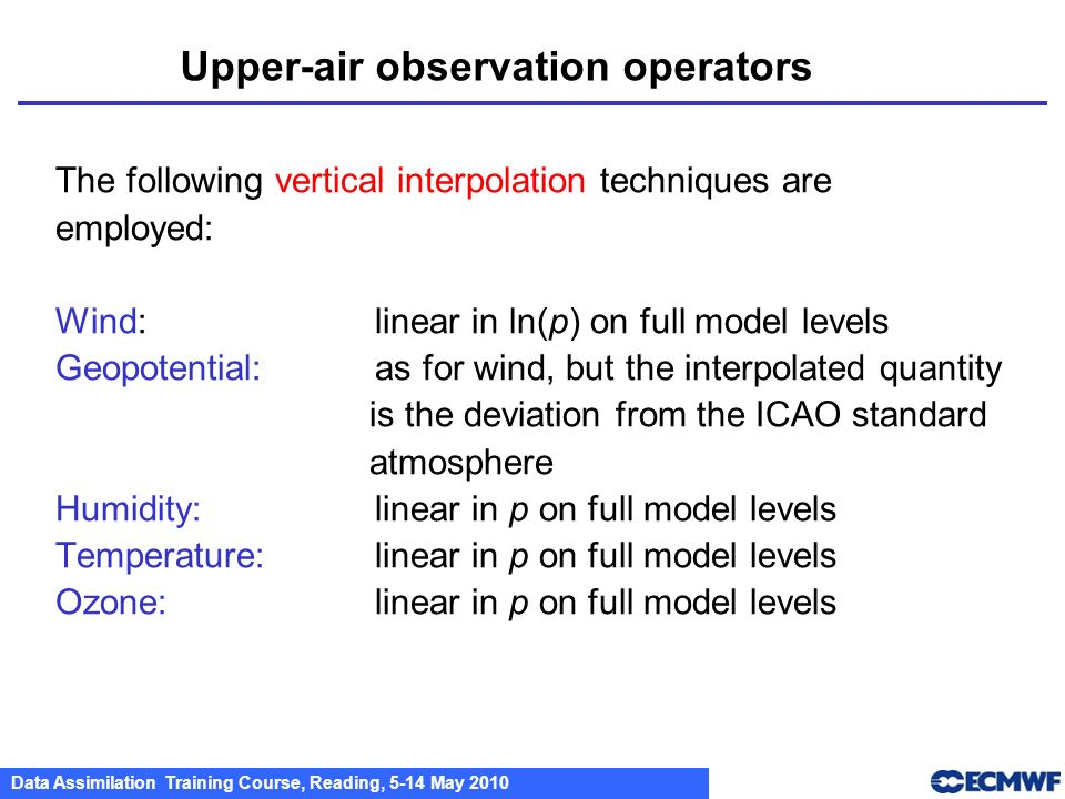 Upper-air observation operators