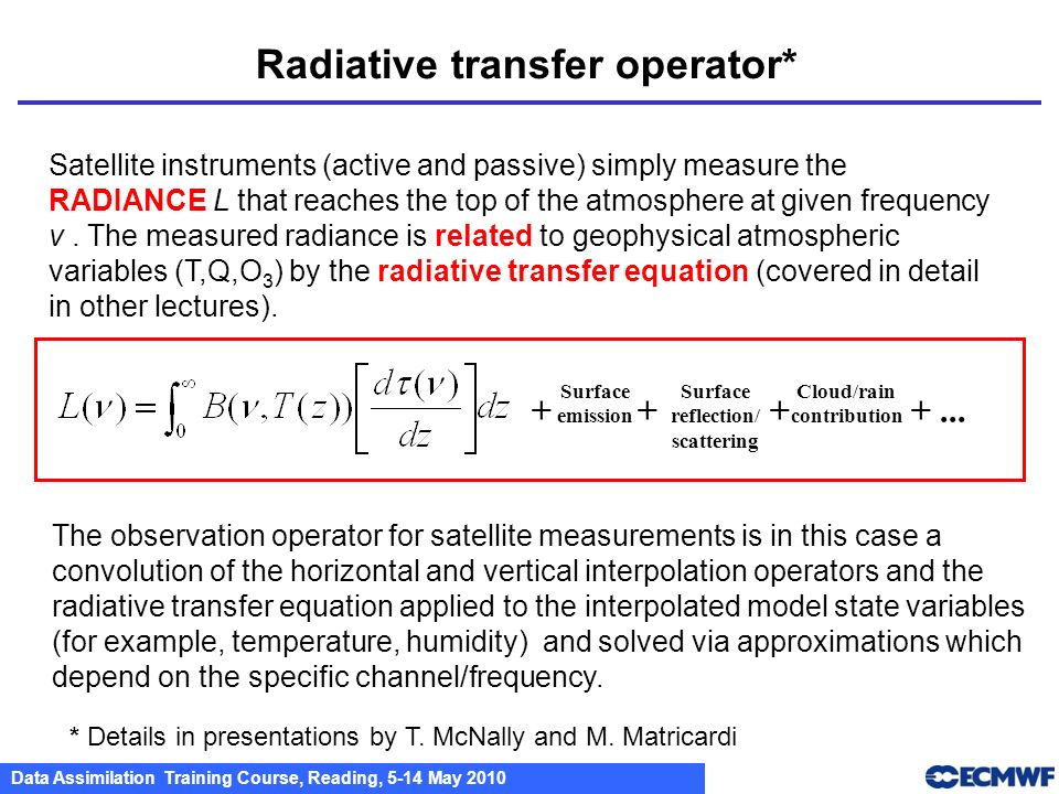 Radiative transfer operator*