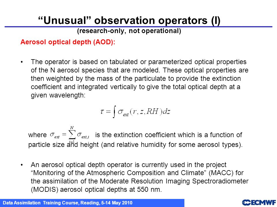 Unusual observation operators (I) (research-only, not operational)