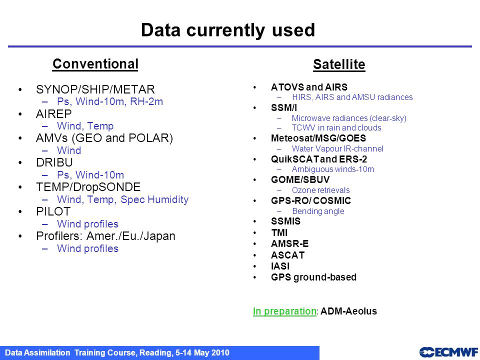 Data currently used Conventional Satellite SYNOP/SHIP/METAR AIREP