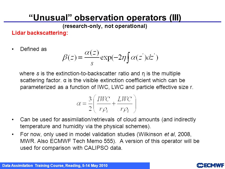 Unusual observation operators (III) (research-only, not operational)