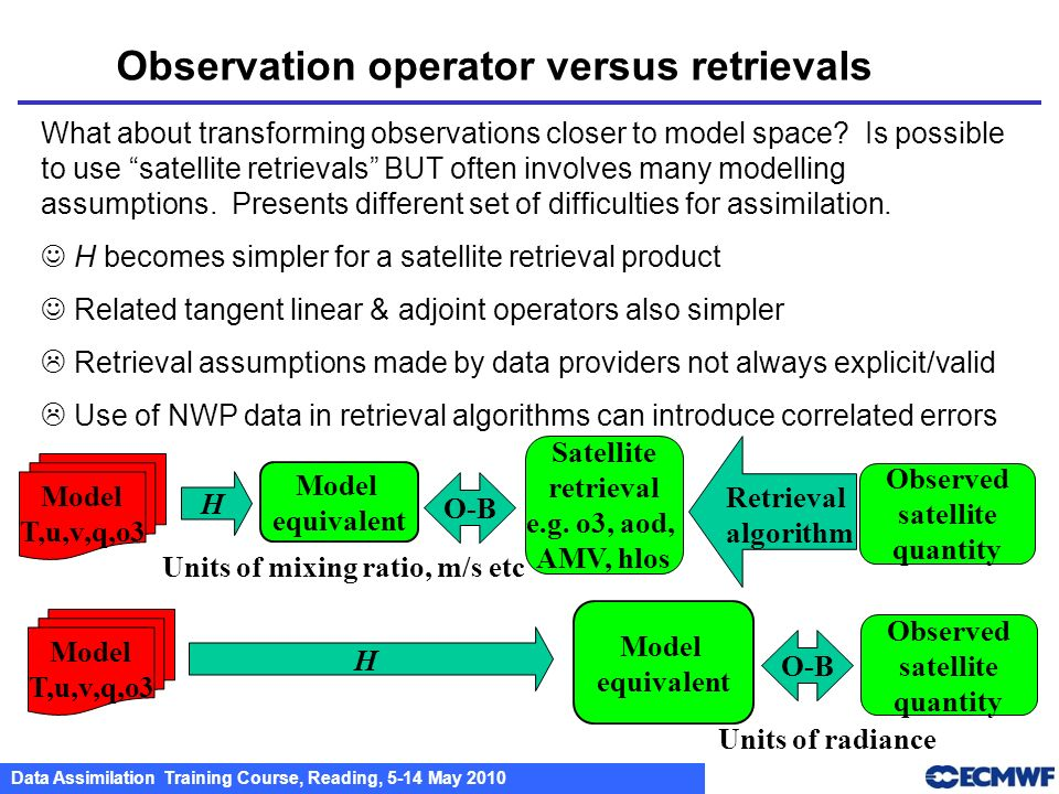 Observation operator versus retrievals