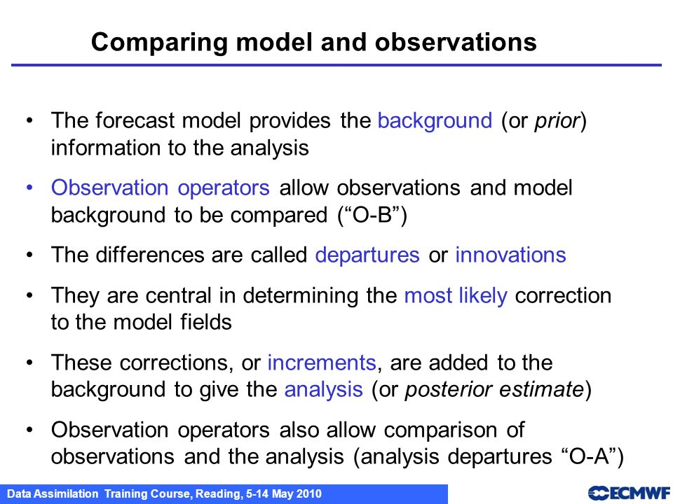 Comparing model and observations