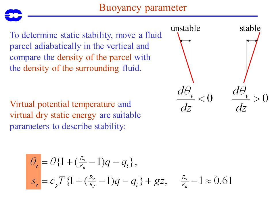 Buoyancy parameter unstable stable