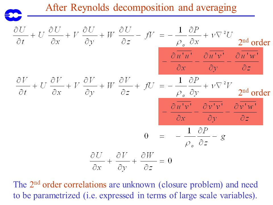 After Reynolds decomposition and averaging