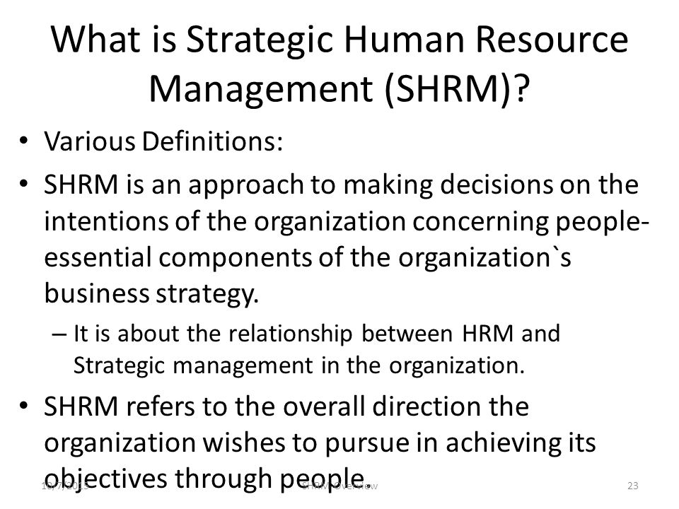 Strategic Human Resource Management: Meaning, Benefits and Other Details | HRM