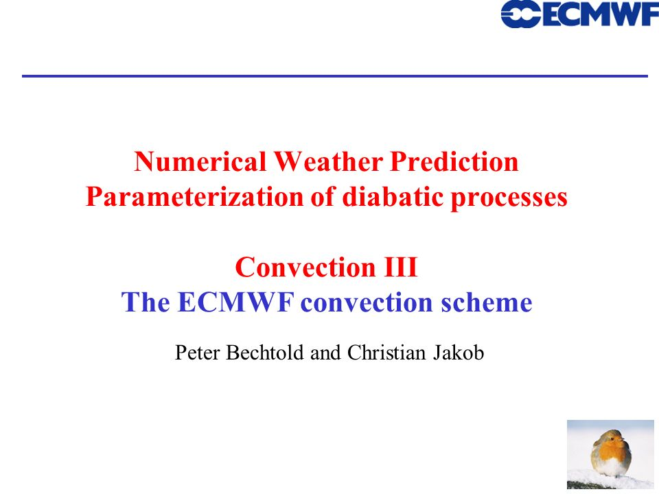 ECMWF Training Course Peter Bechtold and Christian Jakob