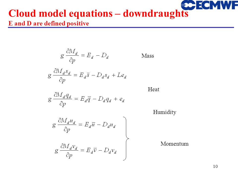 Cloud model equations – downdraughts E and D are defined positive