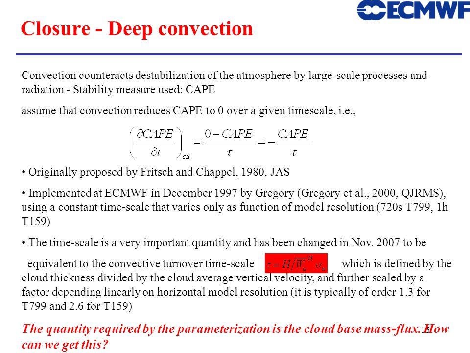 Closure - Deep convection
