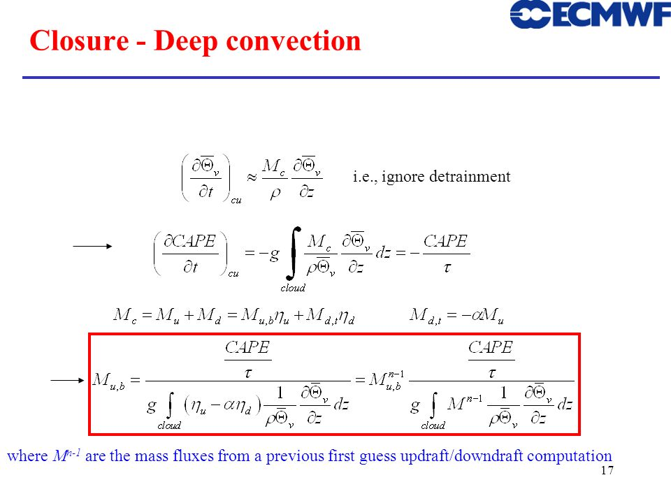 Closure - Deep convection