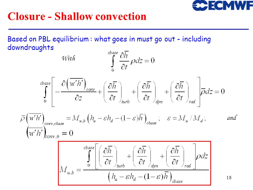 Closure - Shallow convection