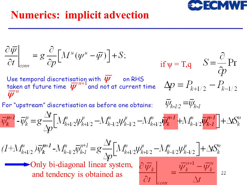 Numerics: implicit advection