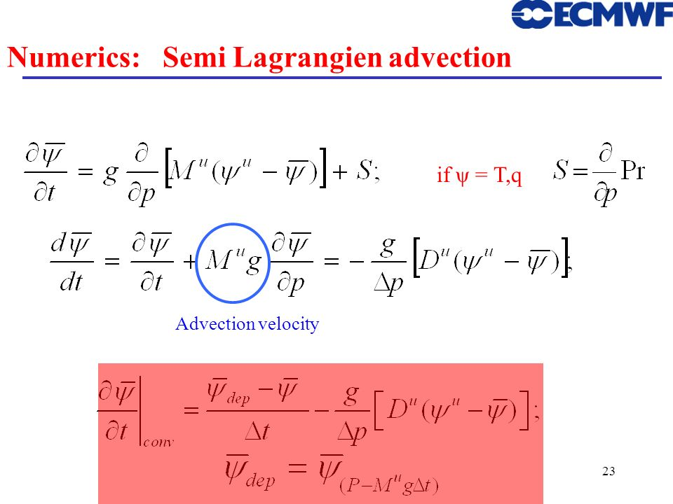 Numerics: Semi Lagrangien advection
