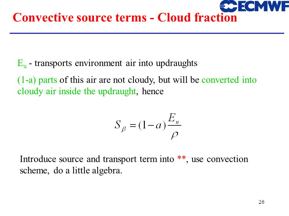 Convective source terms - Cloud fraction