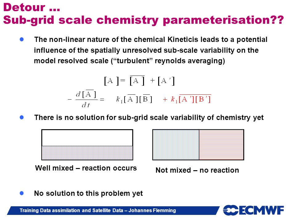 Detour … Sub-grid scale chemistry parameterisation