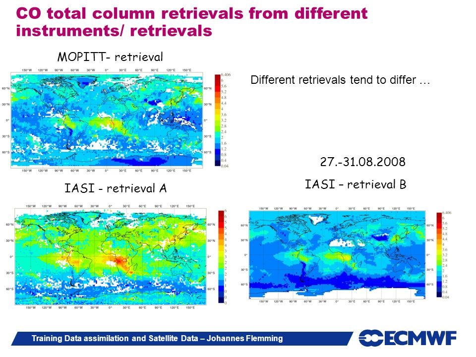 CO total column retrievals from different instruments/ retrievals