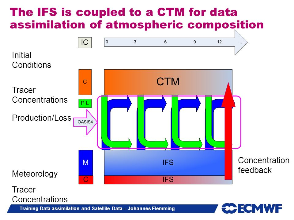 The IFS is coupled to a CTM for data assimilation of atmospheric composition