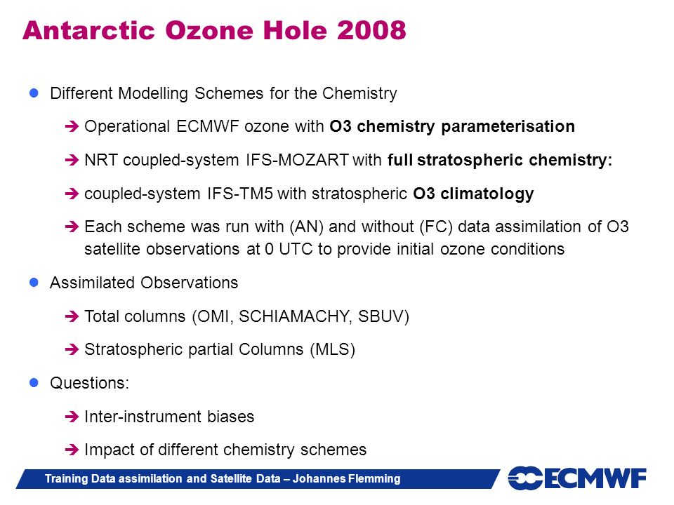 Antarctic Ozone Hole 2008 Different Modelling Schemes for the Chemistry. Operational ECMWF ozone with O3 chemistry parameterisation.