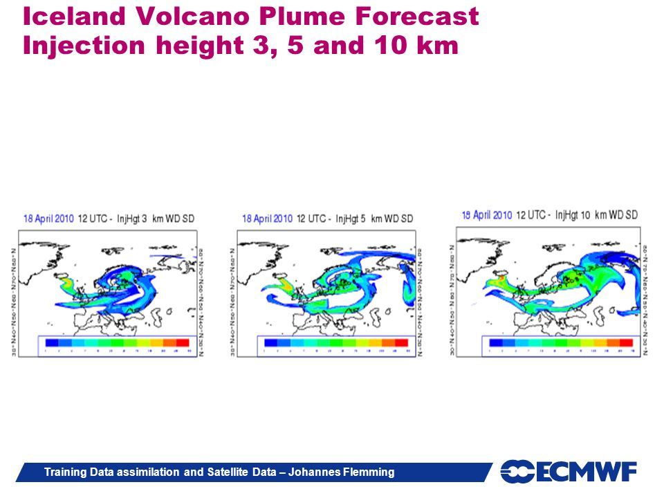Iceland Volcano Plume Forecast Injection height 3, 5 and 10 km