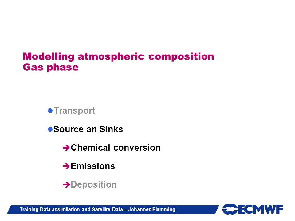 Modelling atmospheric composition Gas phase