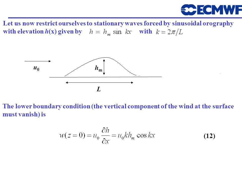 Let us now restrict ourselves to stationary waves forced by sinusoidal orography with elevation h(x) given by with