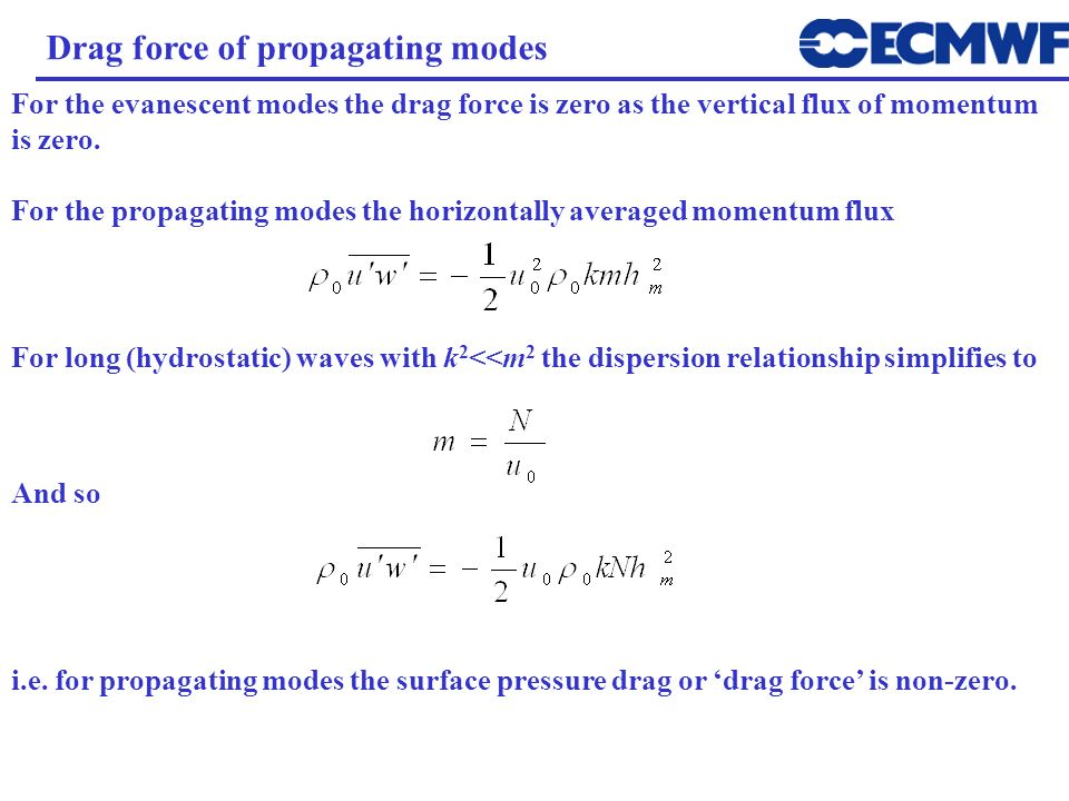 Drag force of propagating modes