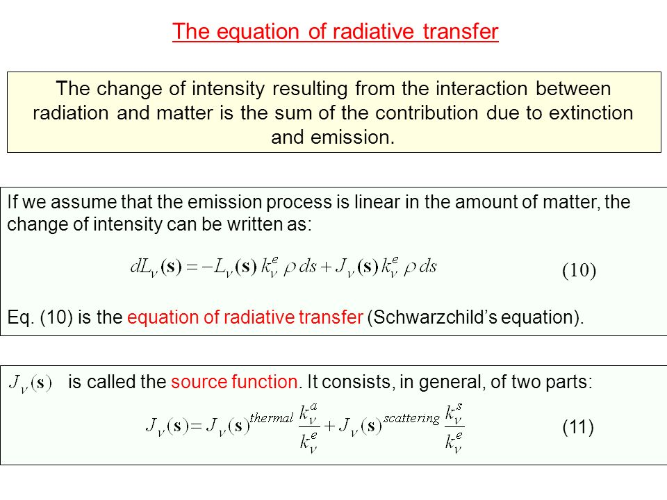 The equation of radiative transfer