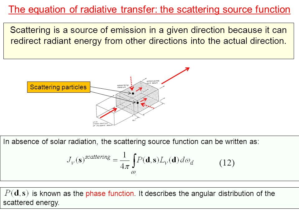 The equation of radiative transfer: the scattering source function