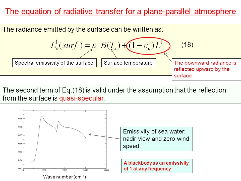 The equation of radiative transfer for a plane-parallel atmosphere