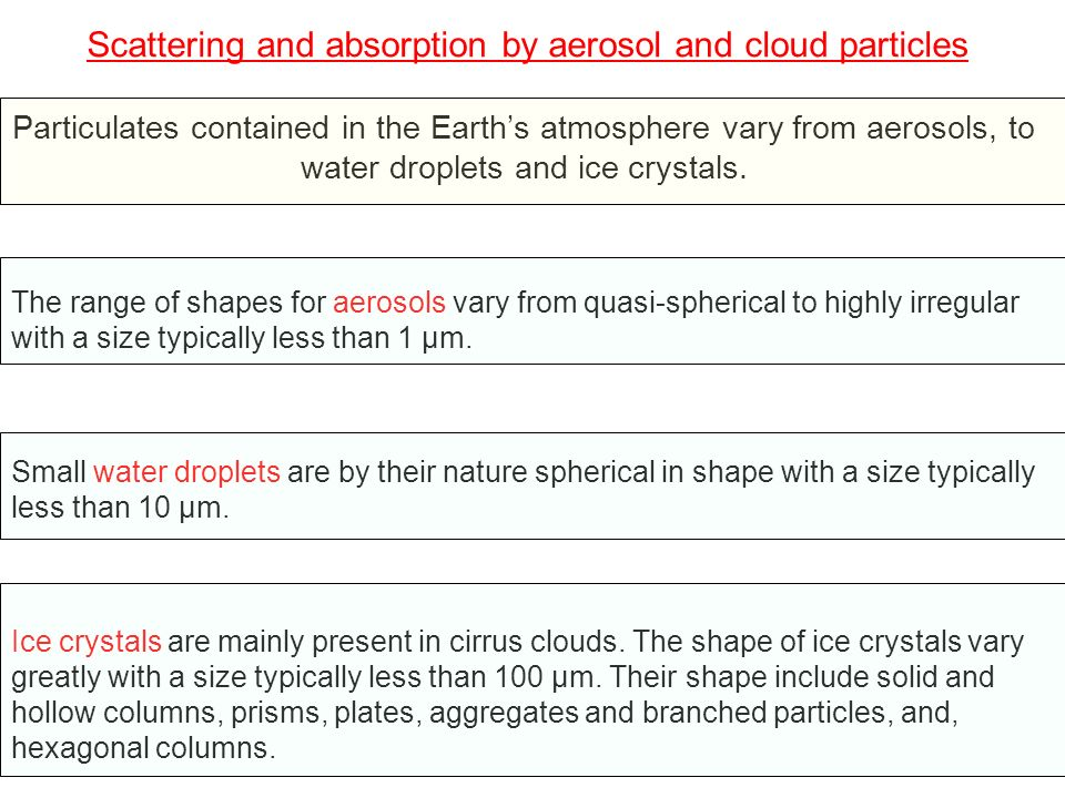 Scattering and absorption by aerosol and cloud particles