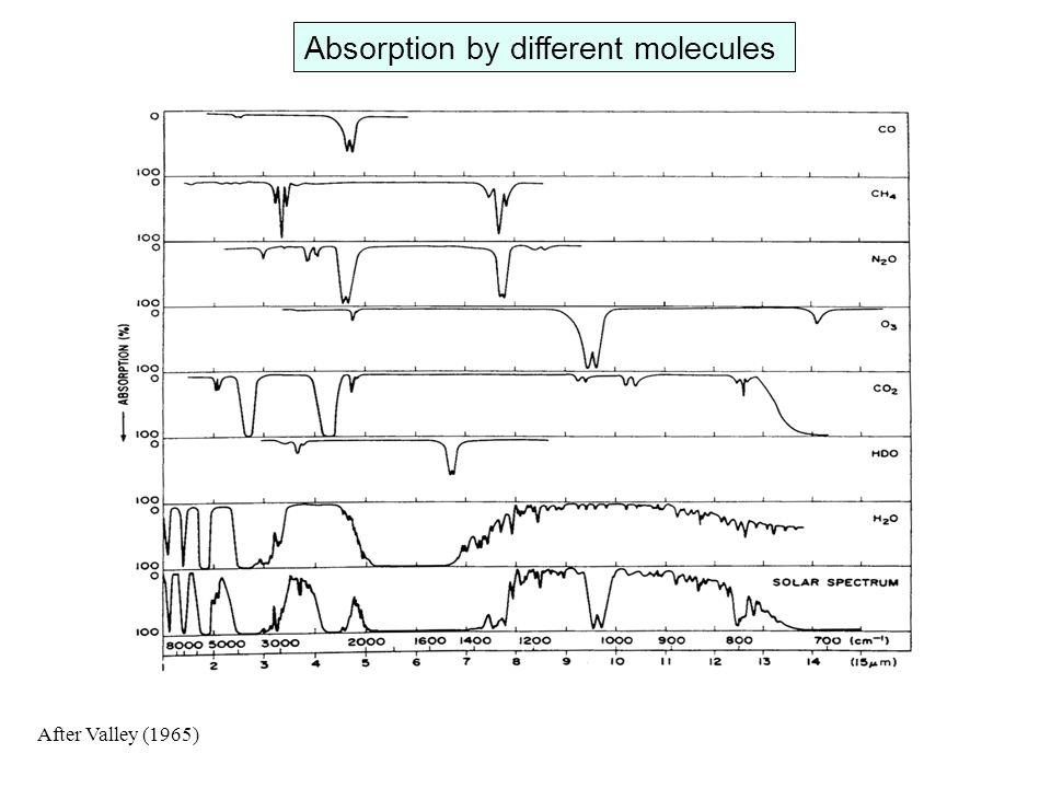 Absorption by different molecules