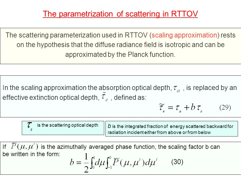 The parametrization of scattering in RTTOV