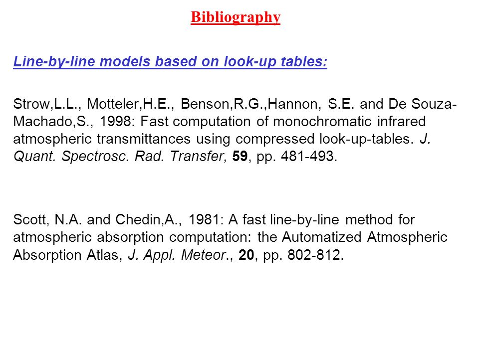 Bibliography Line-by-line models based on look-up tables: