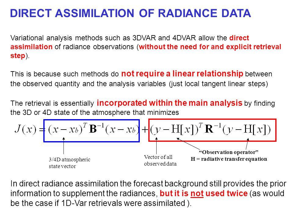 Observation operator H = radiative transfer equation
