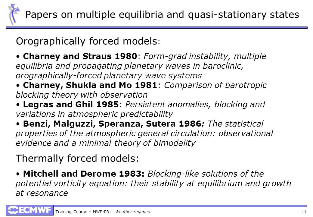 Papers on multiple equilibria and quasi-stationary states