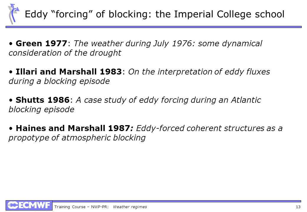 Eddy forcing of blocking: the Imperial College school
