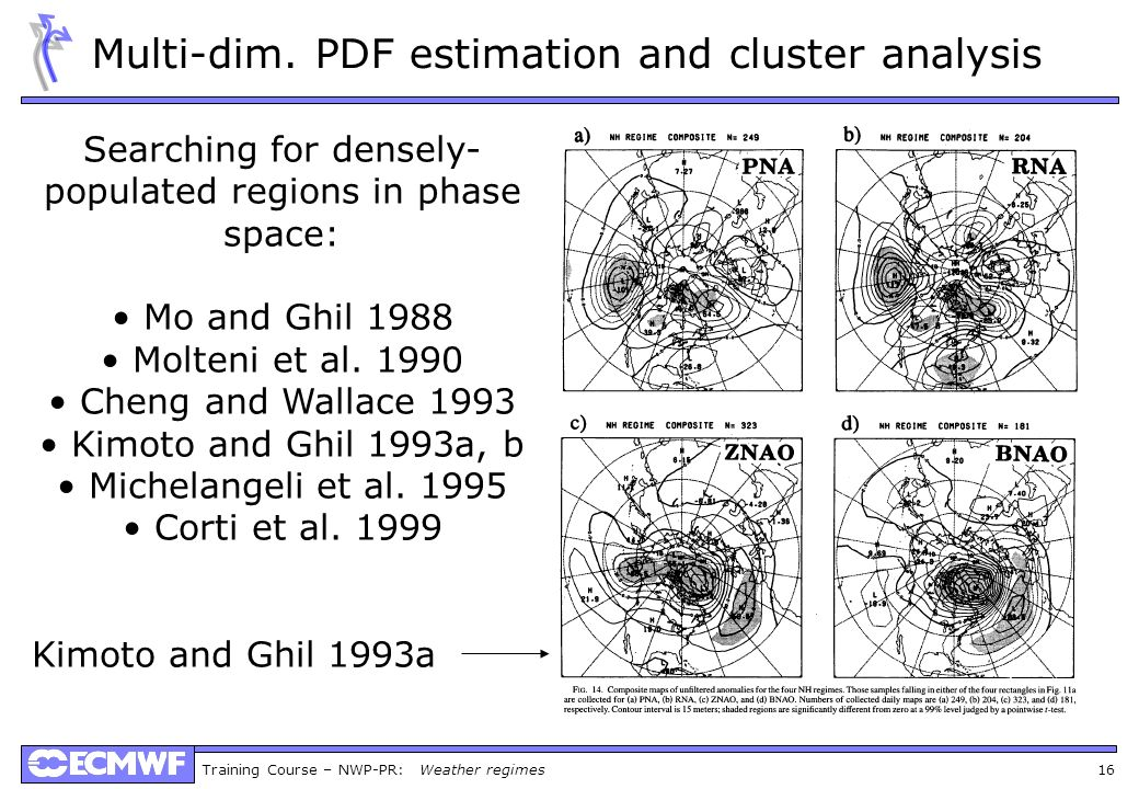 Multi-dim. PDF estimation and cluster analysis