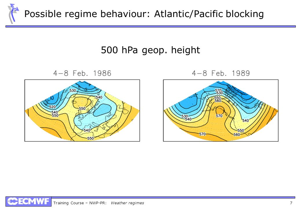 Possible regime behaviour: Atlantic/Pacific blocking