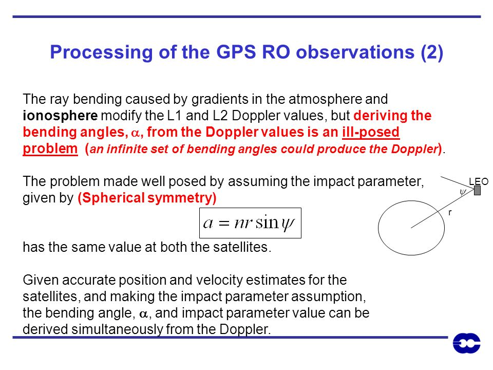 Processing of the GPS RO observations (2)