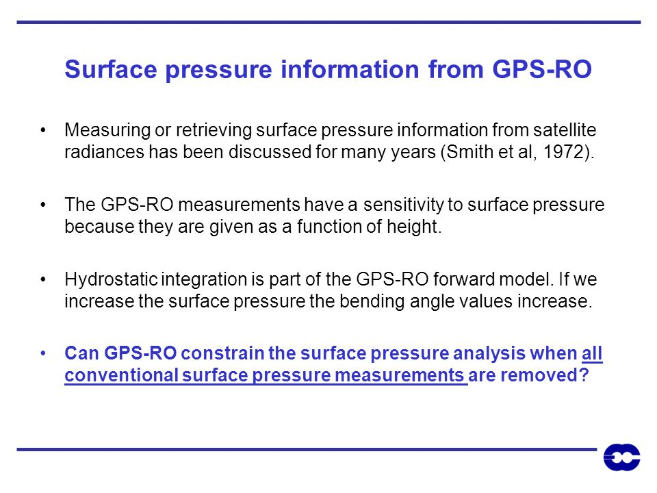 Surface pressure information from GPS-RO