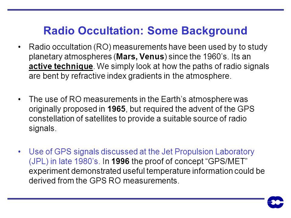 Radio Occultation: Some Background