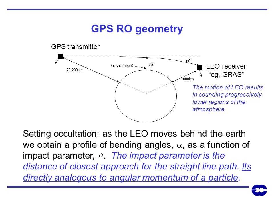 GPS RO geometry Setting occultation: as the LEO moves behind the earth